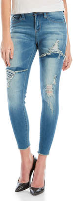 YMI Jeanswear Ripped Mid-Rise Skinny Ankle Jeans