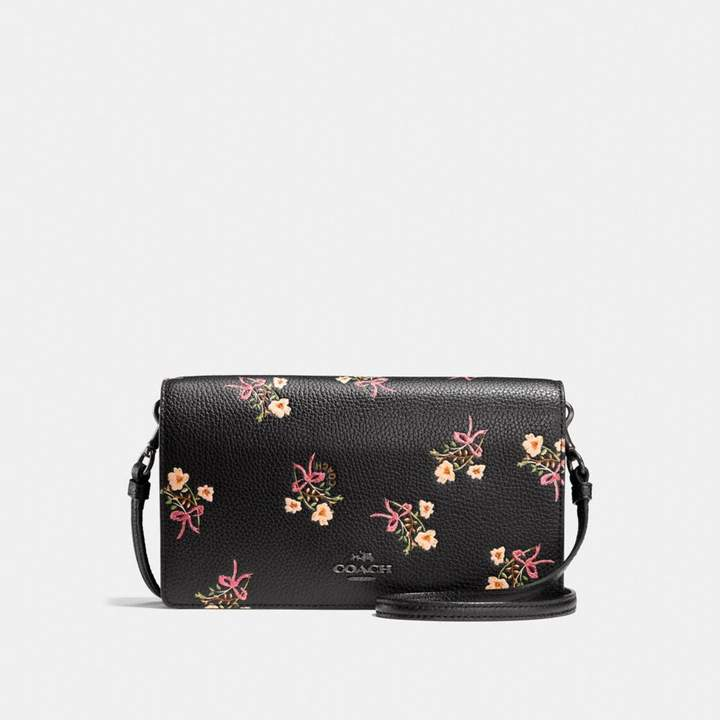 Coach Foldover Crossbody Clutch With Floral Bow Print - BLACK/BLACK COPPER - STYLE