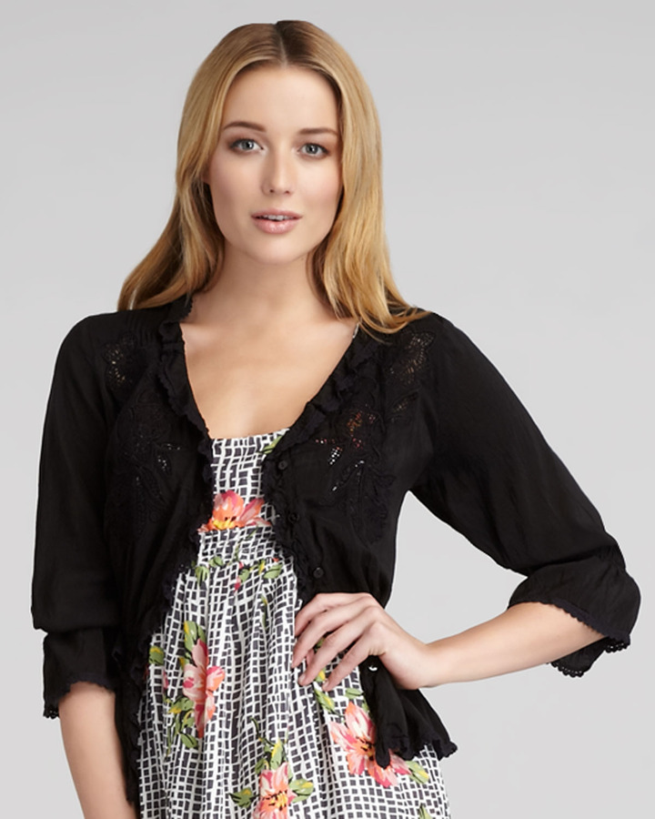 Johnny Was Collection Gathered Cardigan, Women's