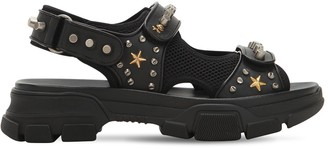 Gucci Studded Leather & Mesh Sandals