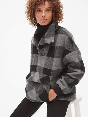 Gap Oversized Plaid Half-Zip Pullover Jacket