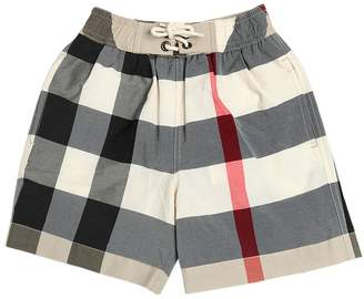 Burberry Checked Nylon & Cotton Swim Shorts