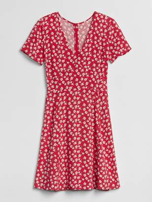 Gap Short Sleeve Floral Print Fit and Flare Dress