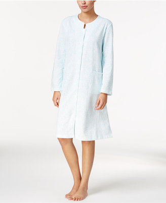 Miss Elaine Printed French Terry Snap-Front Short Robe $72 thestylecure.com