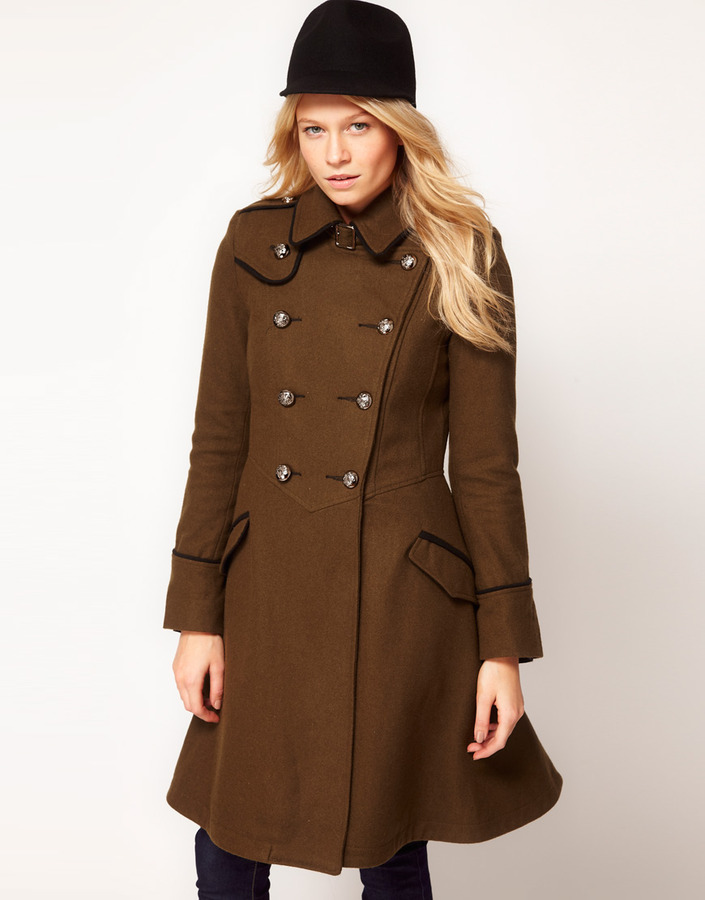 ASOS Military Fit And Flare Coat