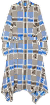Joseph Cyprien Belted Checked Silk Crepe De Chine Midi Dress - Blue