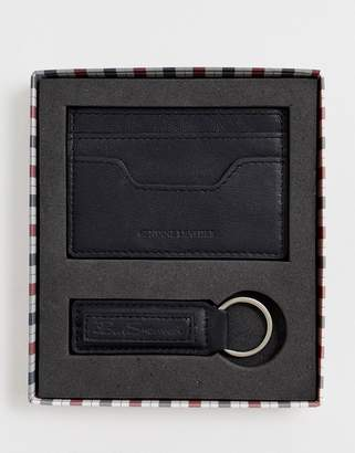 leather card holder and key ring set