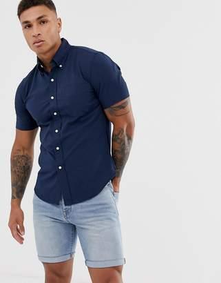 c7c11f5b Polo Ralph Lauren player logo pocket short sleeve seersucker shirt slim fit  in navy