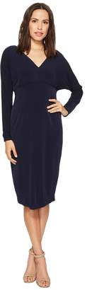 London Times 3/4 Sleeve V-Neck with Tie Sheath Women's Dress