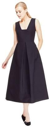Lela Rose Raised Dot Jacquard Square Neck Pearl Detail Dress