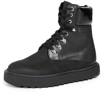 Versus Suede Platform Lace Up Boots