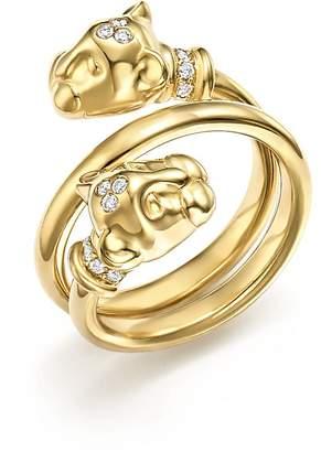 Temple St. Clair 18K Yellow Gold Double Wrap Lion Cub Diamond Ring