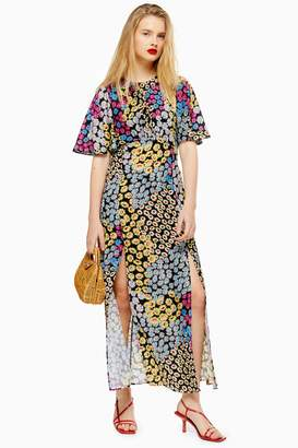 Topshop Womens Austin Floral Daisy Print Angel Sleeve Midi Dress - Yellow