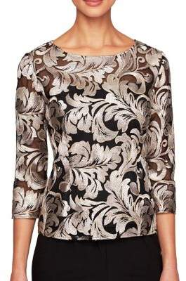 Alex Evenings Embroidered Boatneck Blouse