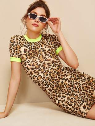 Shein Colorblock Form Fitted Leopard Ringer Dress