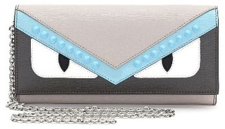 Women's Fendi Monster Elite Leather Continental Wallet - Grey $750 thestylecure.com