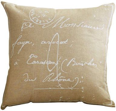 Wayfair Evelina Classical French Script 100% Cotton Throw Pillow