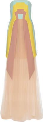 DELPOZO Crêpe & Tulle Long Dress