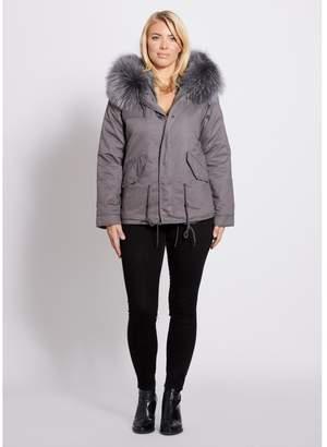 246d3897294f at Harvey Nichols · Popski London Grey Parka Jacket With Matching Raccoon Fur  Collar