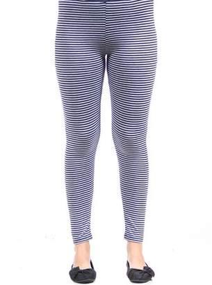 24/7 Comfort Apparel Women's Navy/Grey Stripped Leggings
