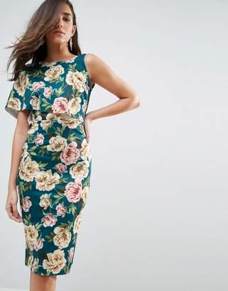 Asos DESIGN Floral Asymmetric One Shoulder Cape Bodycon Midi Dress