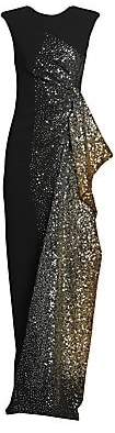 Dries Van Noten Women's Sleeveless Side Ruffle Sequin Gown