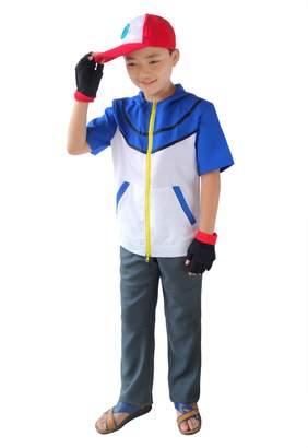 Ash Dazcos US Size Unisex Ketchum Cosplay Costume with Cap and Golves