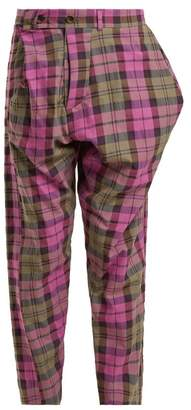 Vivienne Westwood Tartan Cotton Blend Trousers - Womens - Pink Multi