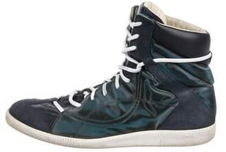 Maison Margiela Suede-Trimmed High-Top Replica Sneakers