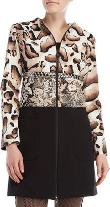 Save The Queen Printed Color Block Lace Trim Zip Coat