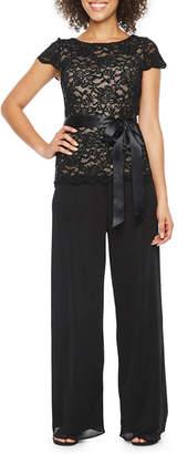 Onyx Nites Short Sleeve Lace Top Jumpsuit