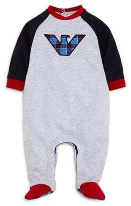 Armani Junior Boys' Plaid Logo Footie - Baby