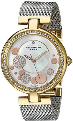 Akribos XXIV Women's AK881TRI Mother of Pearl Gold-Tone Watch With Stainless Steel Mesh Bracelet