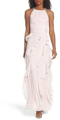 Eliza J Embellished Ruffle Chiffon Gown