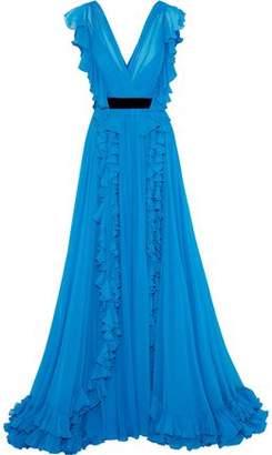 Jenny Packham Ruffled Silk-Chiffon Gown