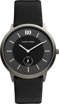 Danish Design Men's Quartz Watch with Black Dial Analogue Display and Black Leather Strap DZ120121