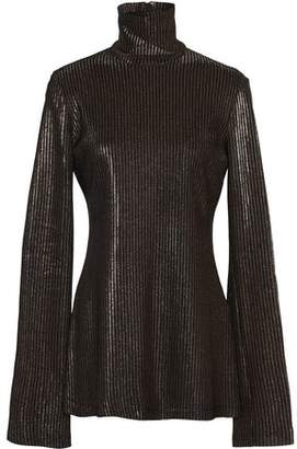 Ellery Metallic Ribbed-Knit Turtleneck Sweater