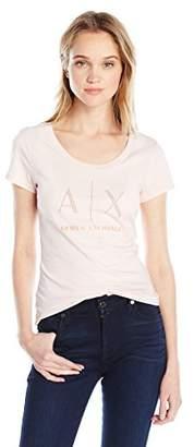 Armani Exchange A X Women's Studded Logo Scoop Neck Jersey T-Shirt