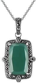 Suspicion Sterling Cushion Agate & Marcasite Pendant w/ Chain