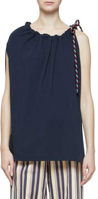 Dries Van Noten Toggle-Rope Cinched-Neck Single Cap-Sleeve Tunic
