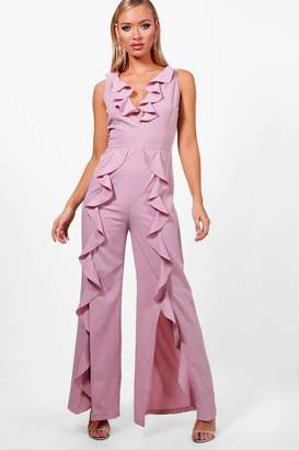 boohoo Ella Ruffle Wide Leg Tailored Jumpsuit
