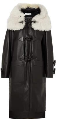 Loewe Shearling-trimmed Leather Coat - Black