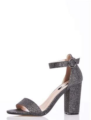 Quiz TOWIE Pewter Glitter Block Heel Sandals