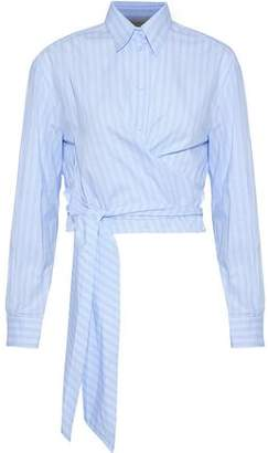 Cédric Charlier Wrap-Effect Striped Cotton Oxford Shirt