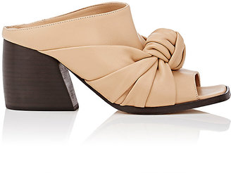 Helmut Lang Women's Knotted Leather Mules $565 thestylecure.com