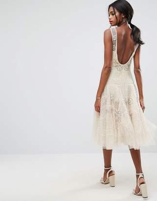 ASOS Edition ASOS SALON Embellished Floral Drop Waist Midi Dress