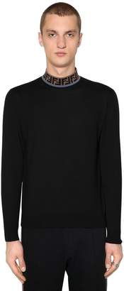 Fendi Slim Fit Ff Techno & Wool Blend Sweater