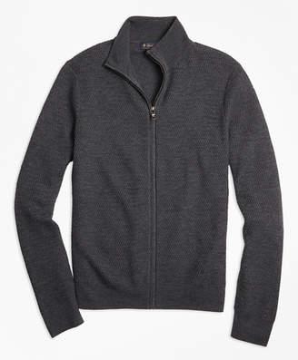 Brooks Brothers Textured Merino Wool Full-Zip Sweater