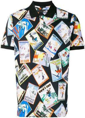 Love Moschino mixed post cards print polo
