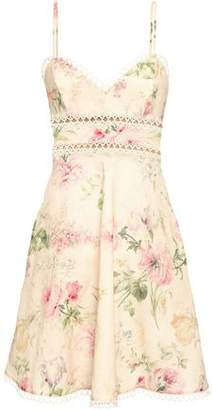 Zimmermann Floral-print Linen And Cotton-blend Mini Dress